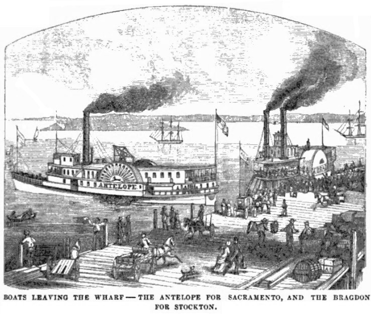 Steamer Antelope leaving San Francisco, October 1859 Hutchings' Illustrated California Magazine