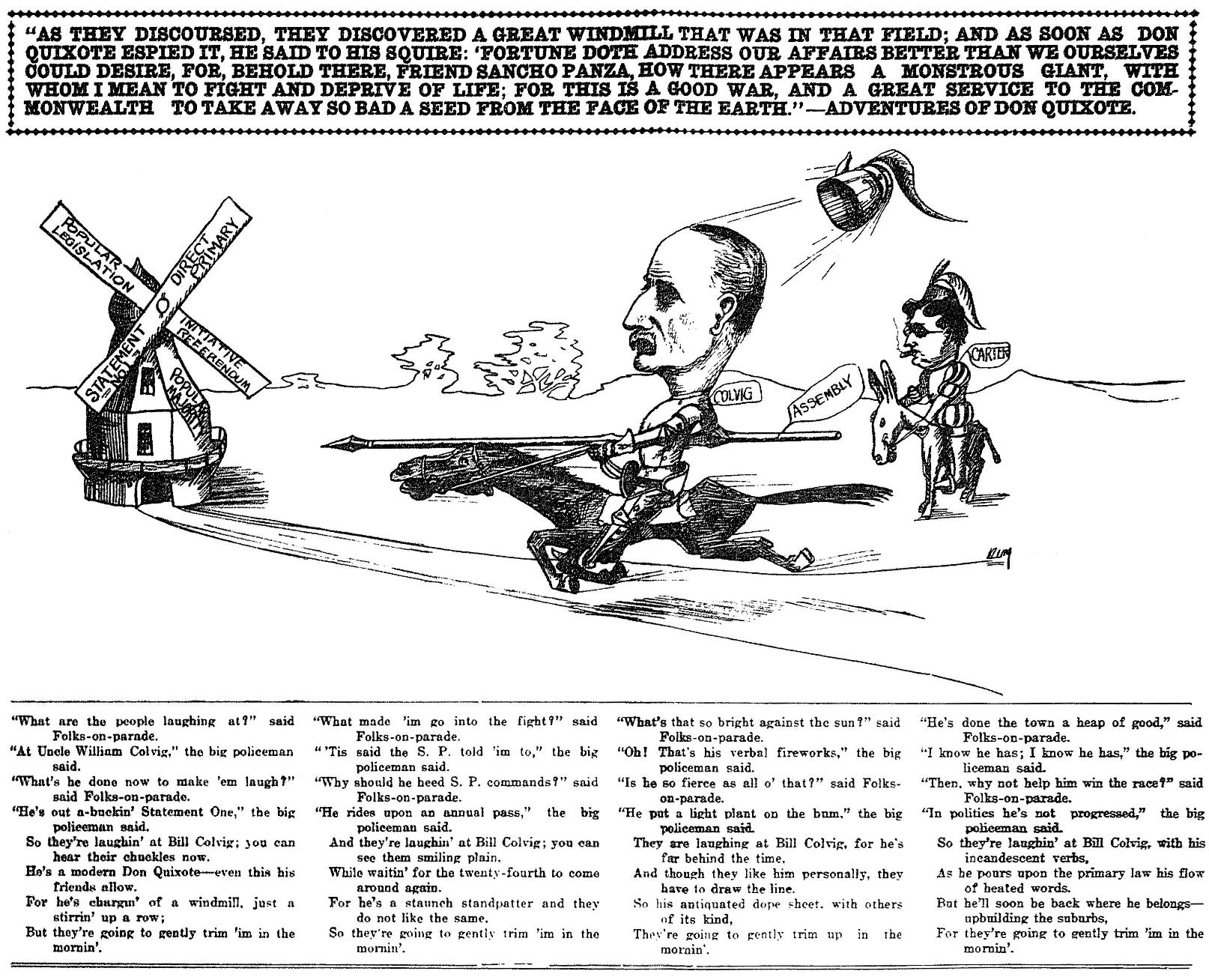 William M. Colvig political cartoon, 1910-9-19MMT