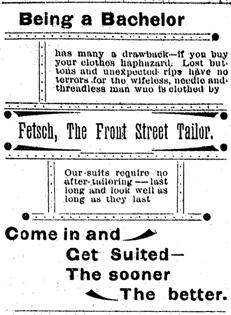 Fetsch the Tailor ad, Medford Mail, September 15, 1893, page 2