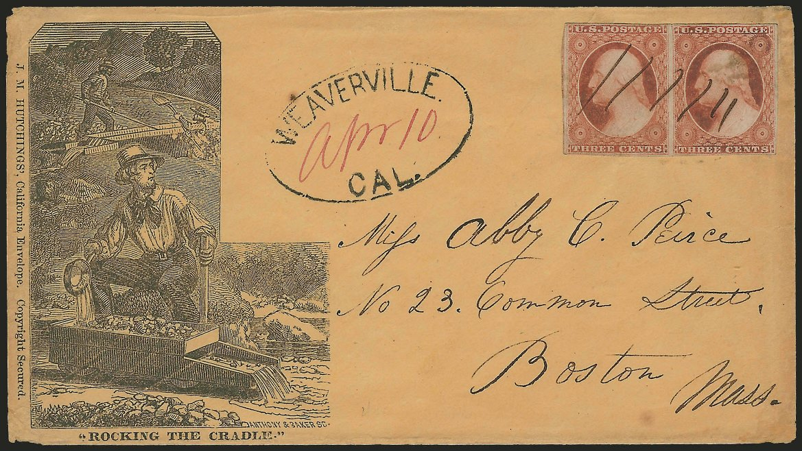 "James Mason Hutchings envelope, ""Rocking the Cradle""--courtesy Siegel Auctions"