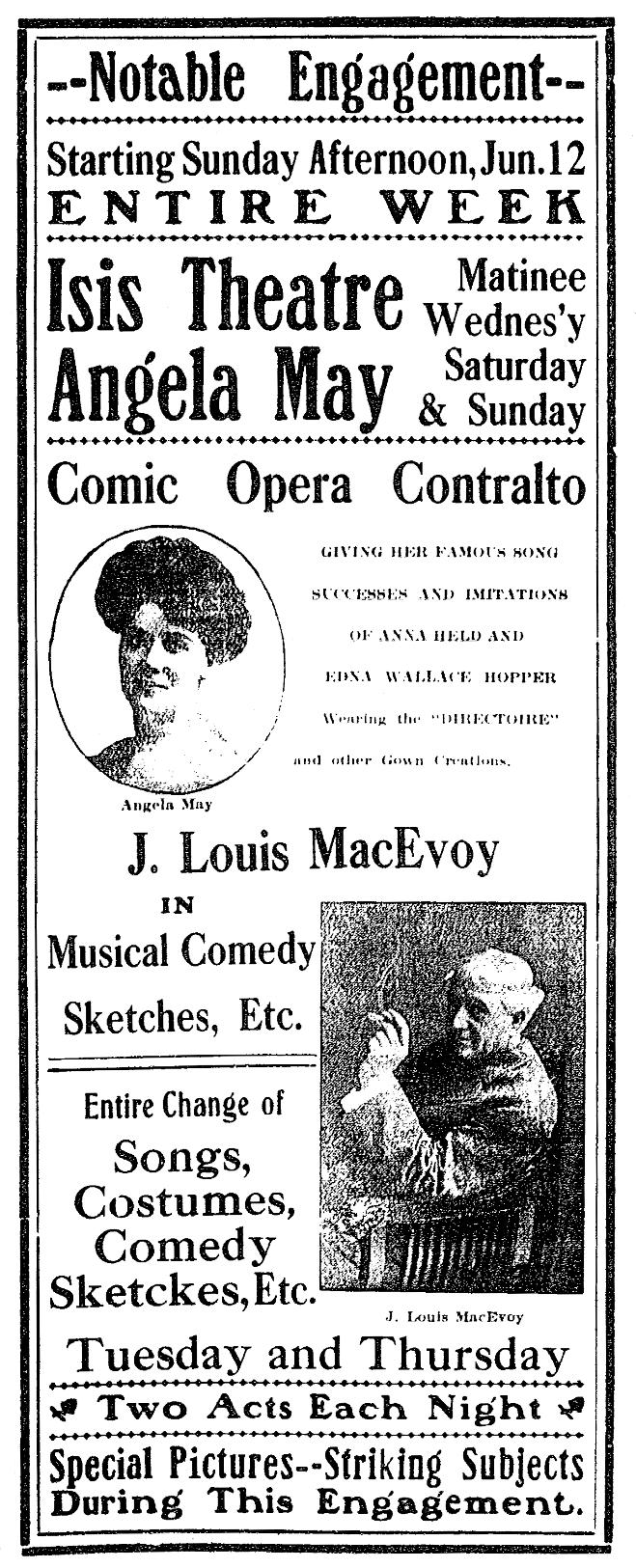 Isis Theater ad, 1910-6-12MMT