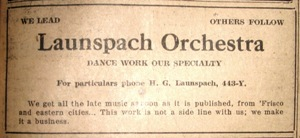 Launspach's Orchestra, MMT Jan 23, 1920