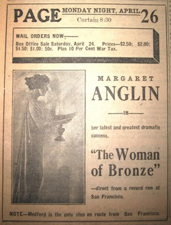 "Margaret Anglin in ""Woman of Bronze,"" April 22, 1920"