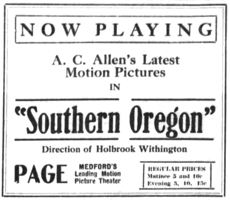 Ad for Albert C. Allen film, February 16, 1916 Medford Mail Tribune