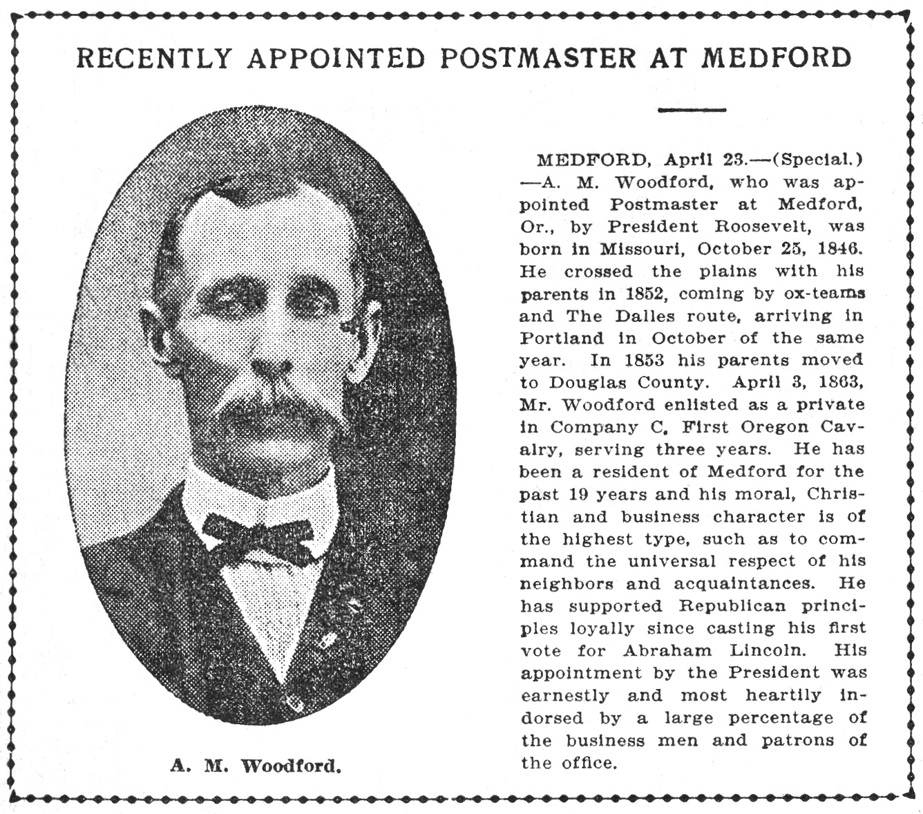 Postmaster A. M. Woodford, April 25, 1904 Oregonian