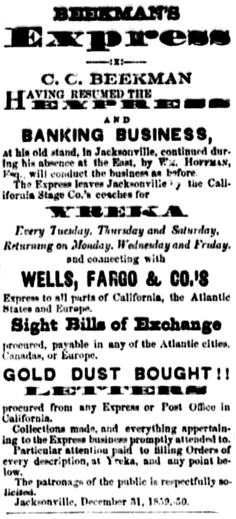 Beekman ad, May 19, 1860 Oregon Sentinel