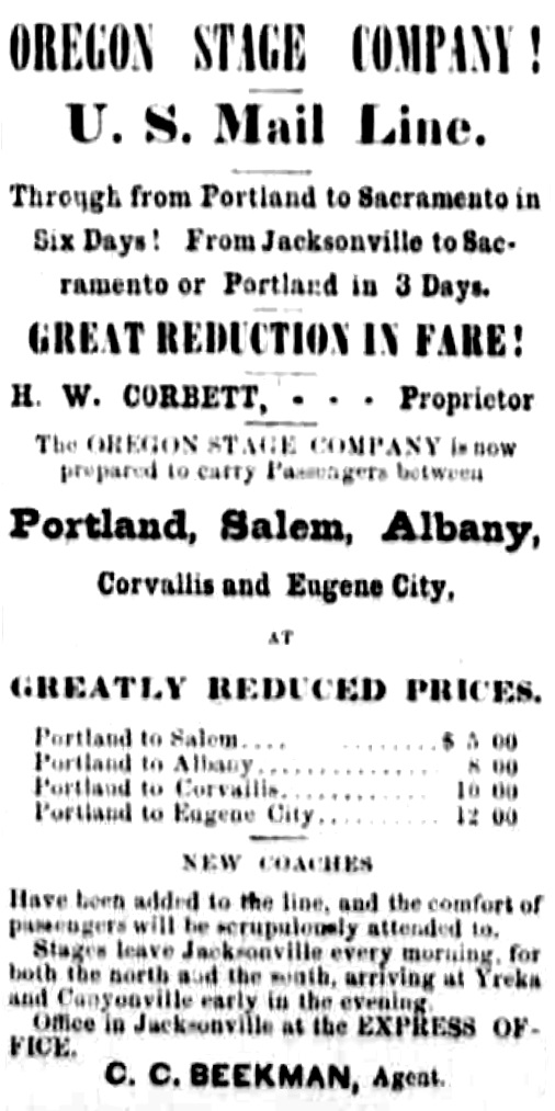 Beekman ad, January 26, 1867 Oregon Sentinel