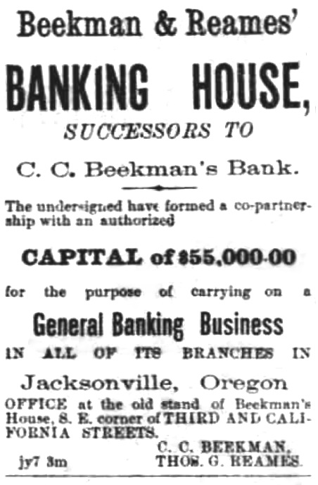 Beekman & Reames ad, October 20, 1887 Oregon Sentinel