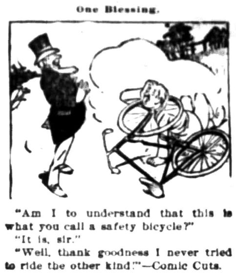 Bicycle cartoon, November 6, 1899 Democratic Times, Jacksonville, Oregon