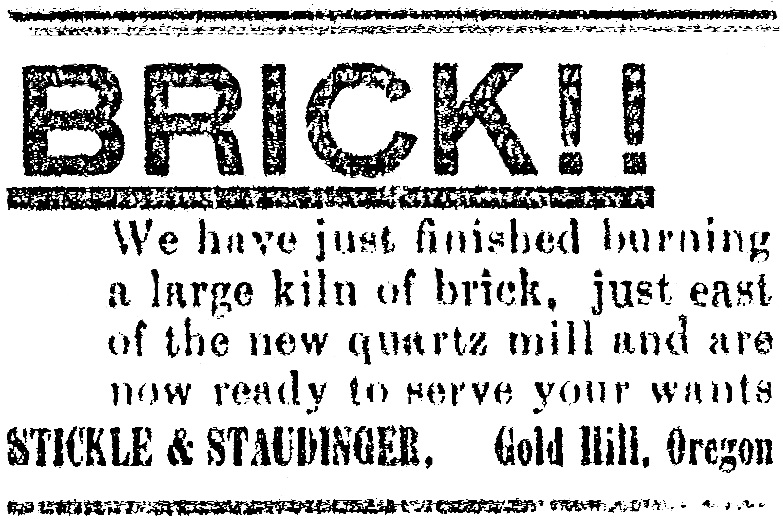 Stickle & Staudinger brickyard ad, December 19, 1900 Gold Hill News