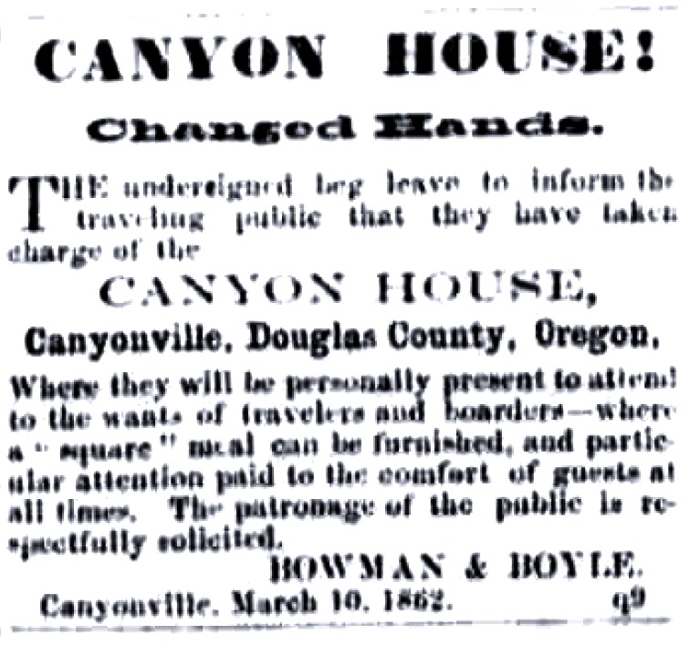 Canyon House ad, May 31, 1862 Oregon Sentinel, Jacksonville