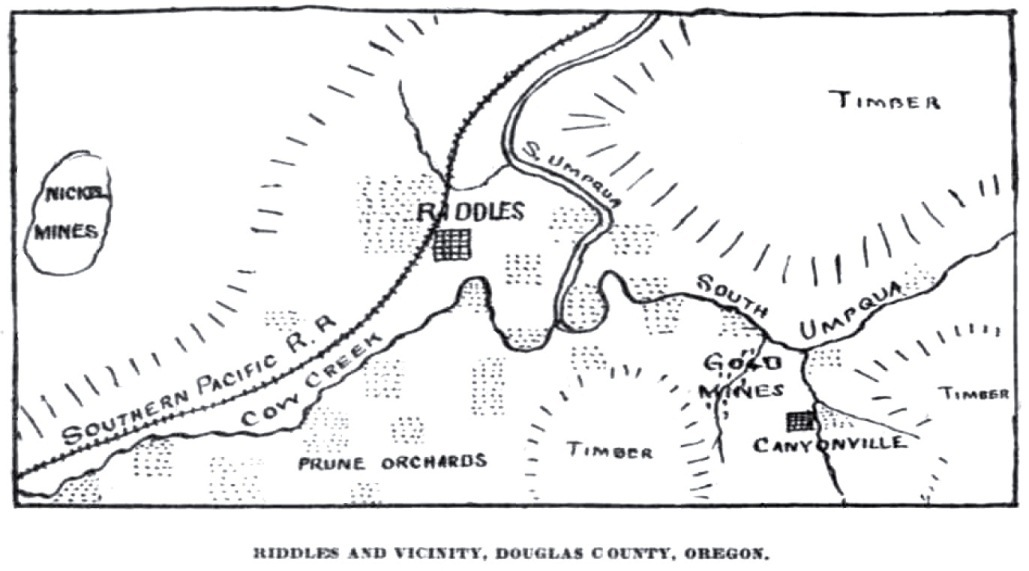 A Canyonville area map from the January 17, 1903 Oregonian, showing the route of the railroad and the Canyonville mines. The Canyon is directly south of Canyonville.