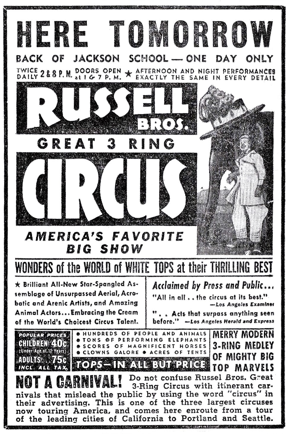 Russell Bros. Circus ad, June 23, 1942 Medford Mail Tribune