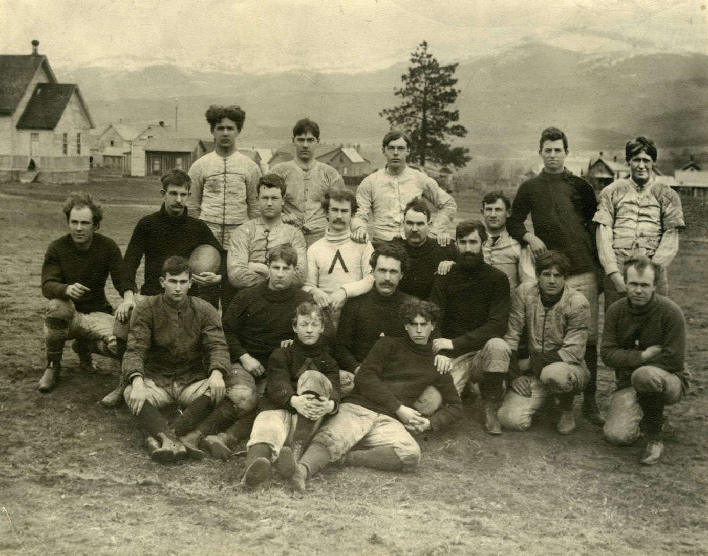 Combined Ashland Town and Normal School Teams 1897--Blaine Klum center, holding knee
