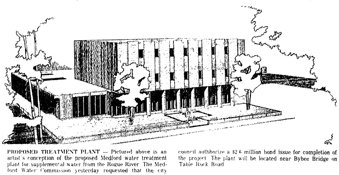 Duff Water Treatment Plant, January 21, 1966 Medford Mail Tribune