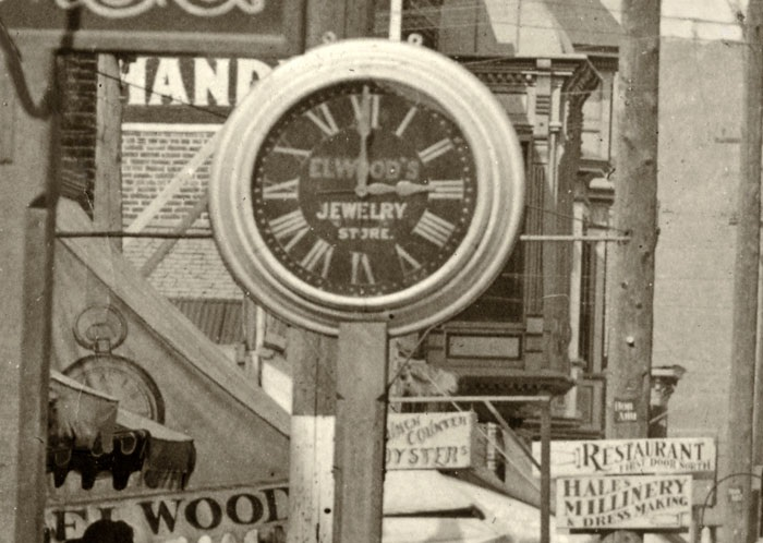 E. D. Elwood's clock (and awning) on East Main, 1903