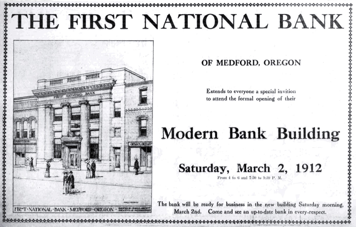 First National Bank, February 29, 1912 Medford Mail Tribune
