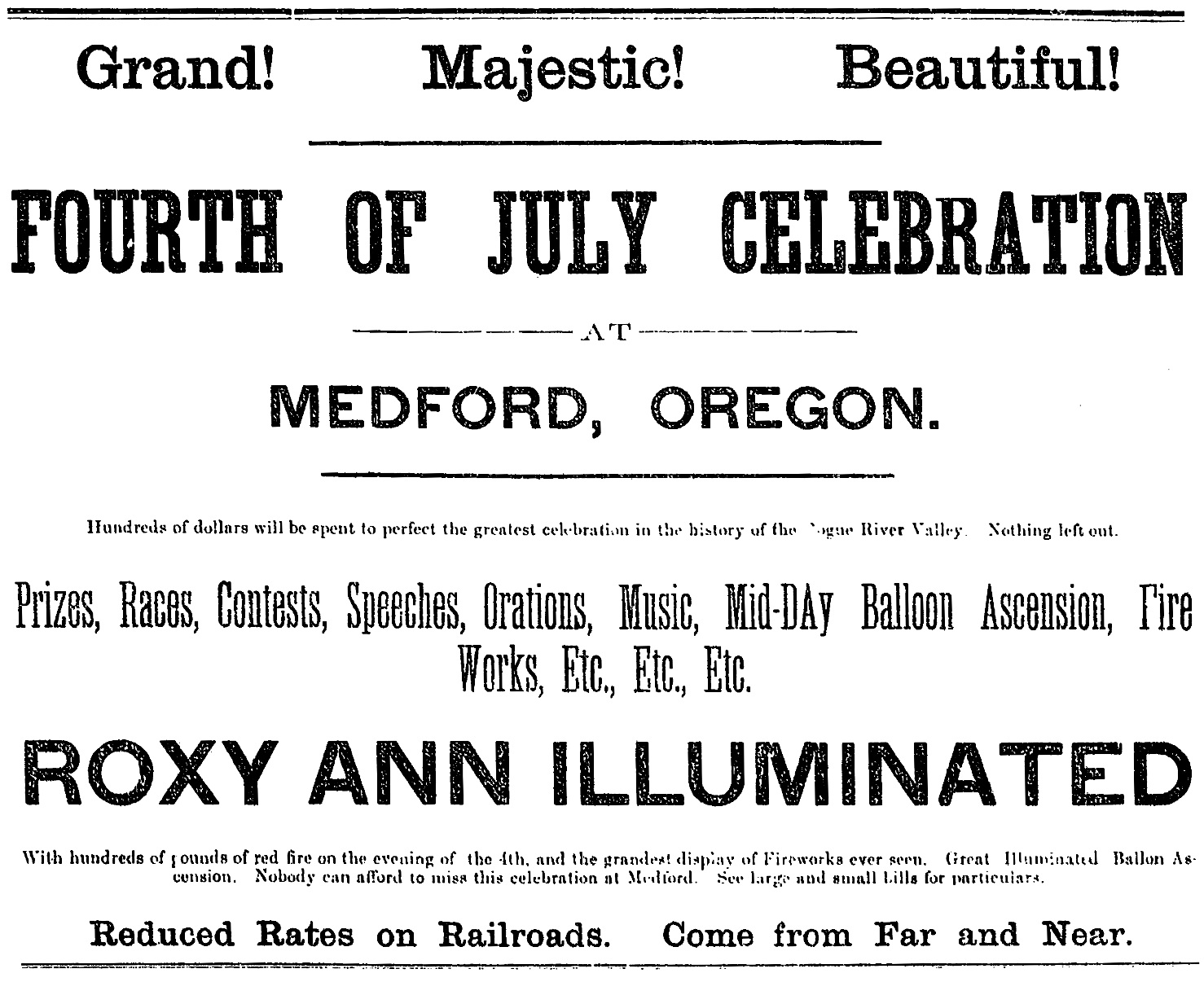 Fourth of July ad, June 24, 1892 Southern Oregon Mail