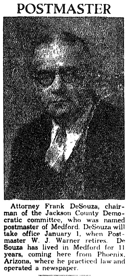 Frank DeSouza, December 29, 1933 Medford News