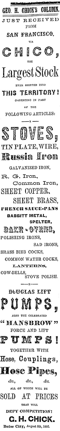 George H. Chick ad, September 18, 1866 Idaho Statesman