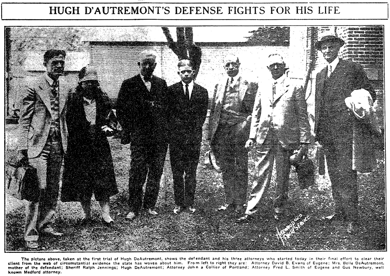 DeAutremont defense team, June 20, 1927 Medford Mail Tribune