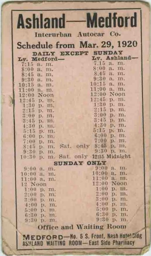 Interurban Autocar Co. schedule 1920