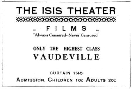 Isis Theater ad, August 6, 1910 Medford Saturday Review