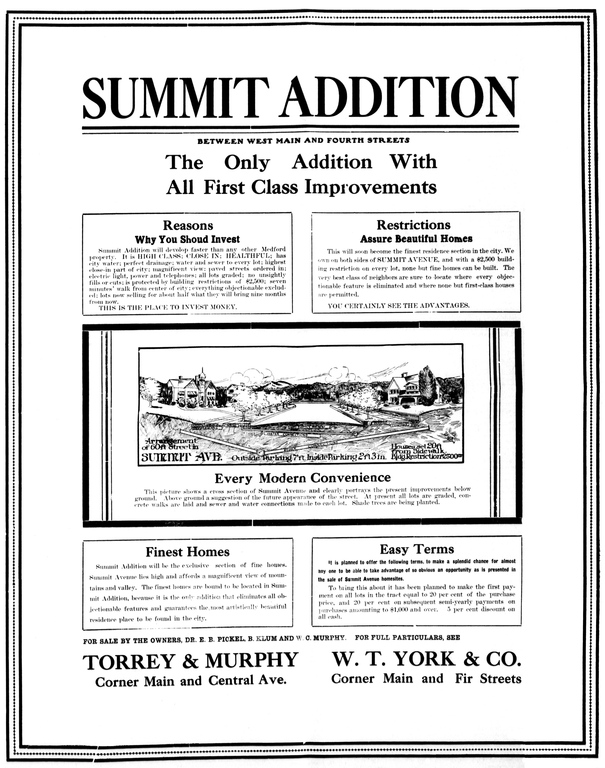Sunset Addition ad, May 12, 1910 Medford Mail Tribune