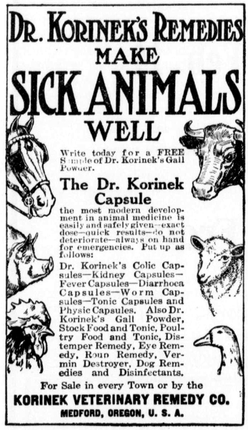 Korinek ad, February 7, 1914 Pacific Rural Press, page 181