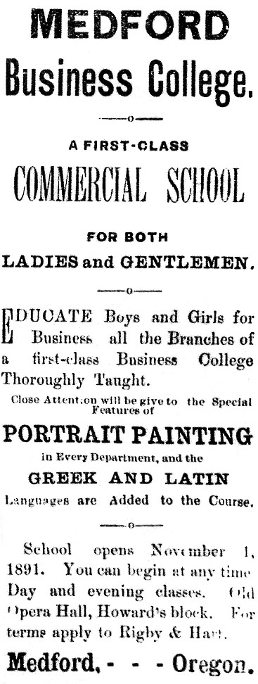 Medford Business College ad, January 22, 1892 Democratic Times