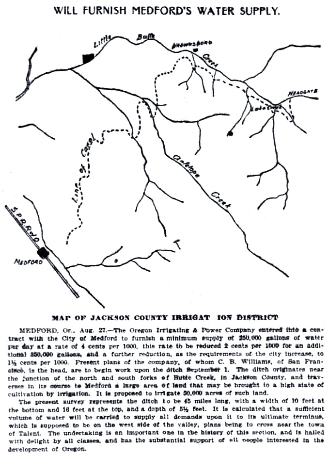 Medford Water Ditch, August 28, 1900 Oregonian