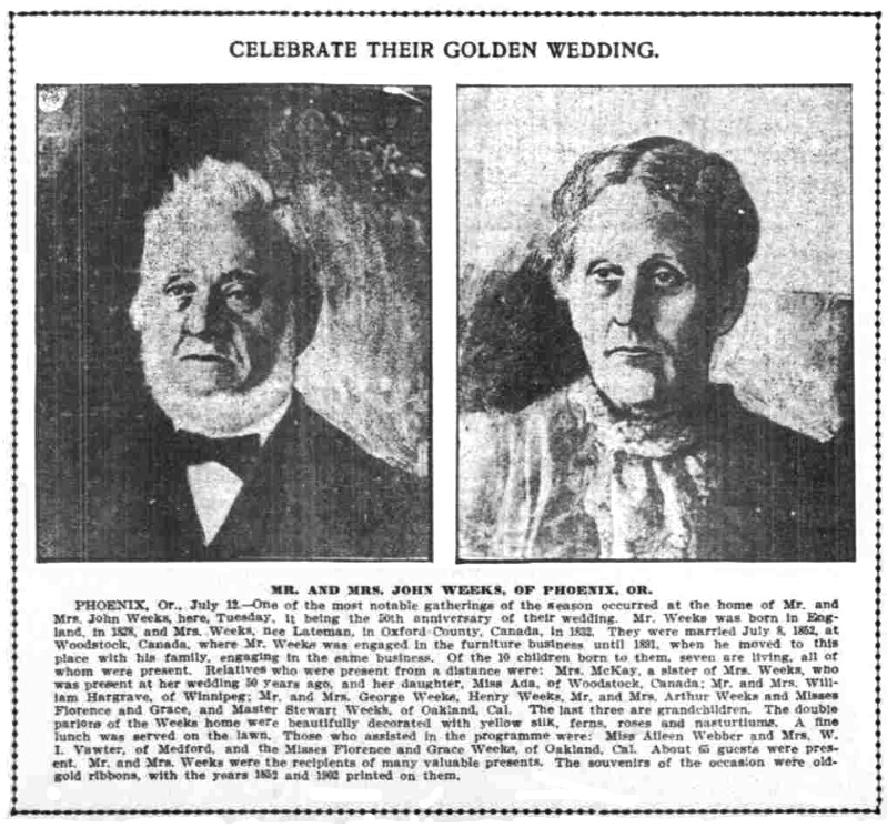 Mr. and Mrs. John Weeks, July 14, 1902 Oregonian