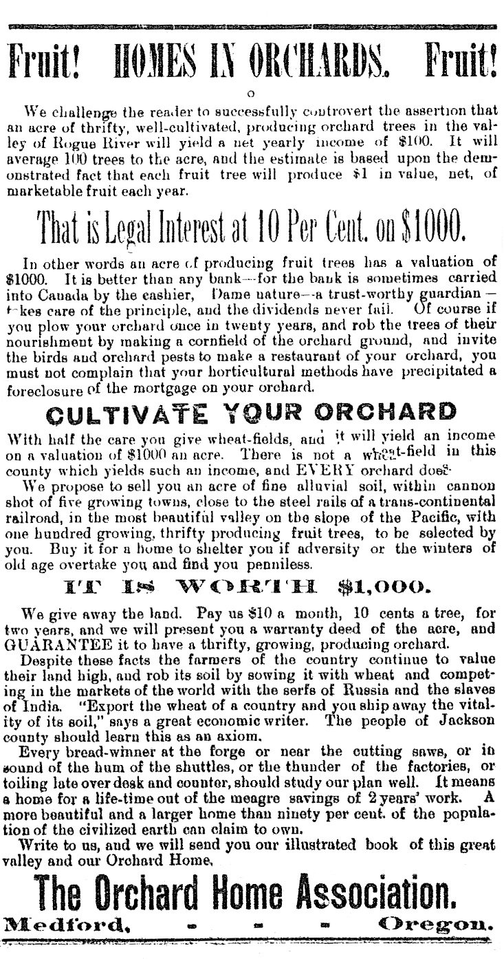 Orchard Home ad, December 13, 1890 Democratic Times