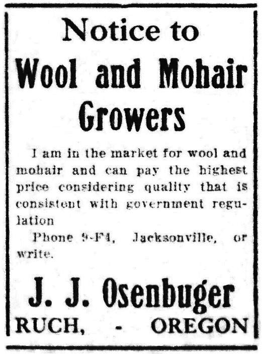 Osenbrugge ad, May 18, 1918 Medford Mail Tribune