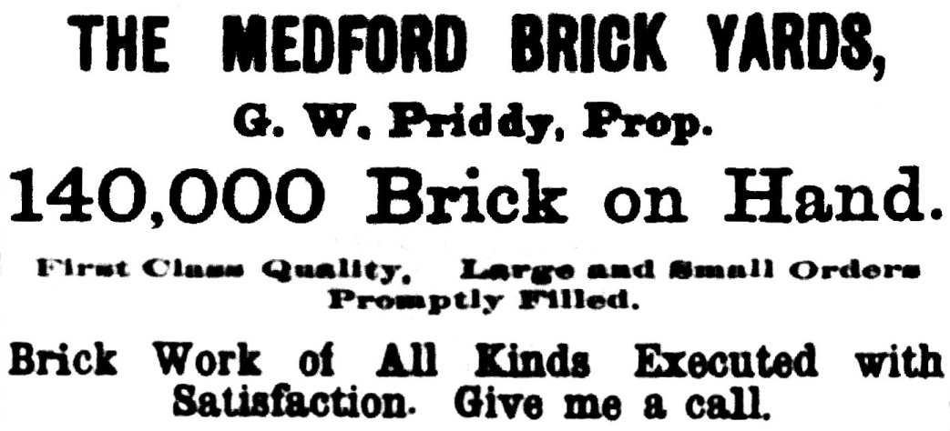 Medford Brick Yards, October 28, 1892 Democratic Times