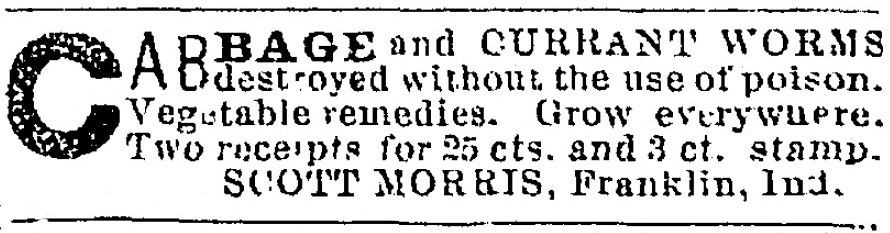 Scott Morris ad, August 4, 1879 Elkhart, Indiana Daily Review