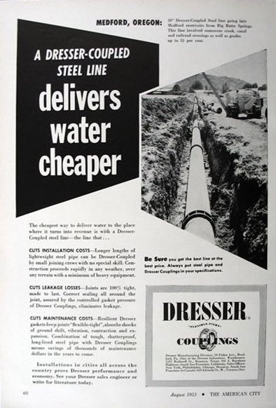 Water pipe ad, August 1953 American Cities magazine