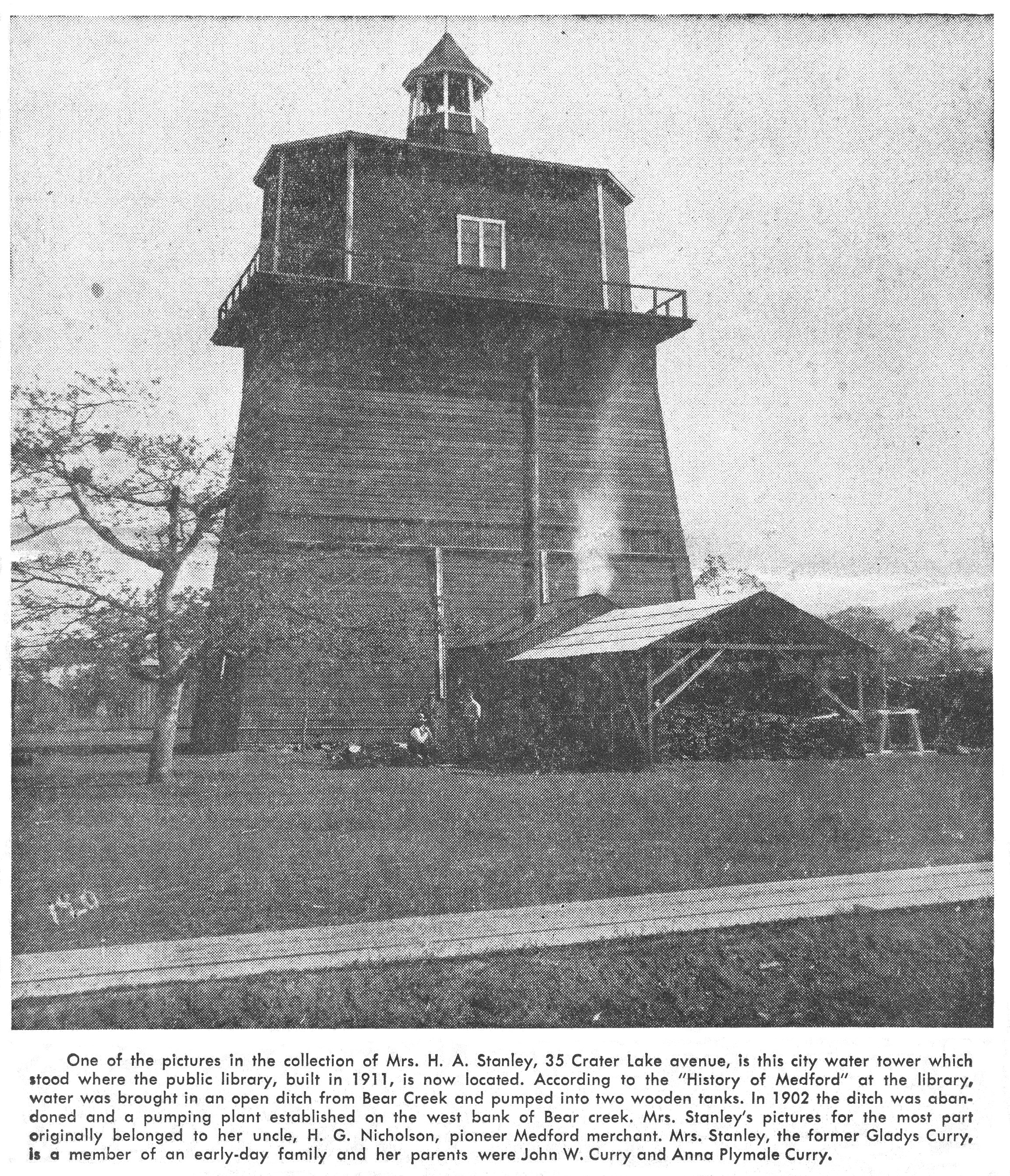 Medford Water Tower 1890s--February 27, 1955 Medford Mail Tribune