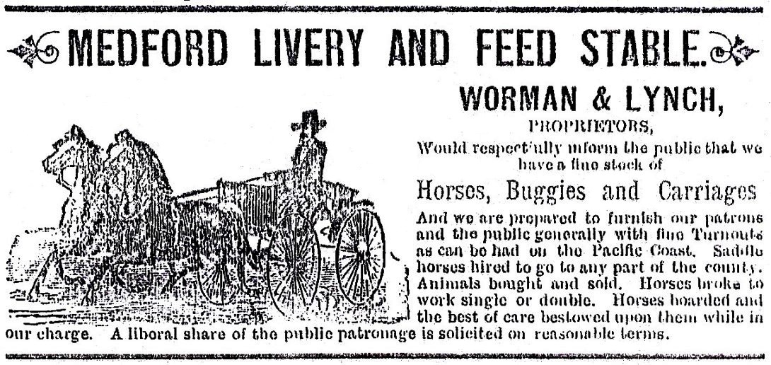 Medford Livery Stable ad 1886-87McKenney'sPacificCoastDirectory